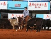 Dennis Branham, riding Smart Travelin Cat, by WR THIS CAT SMART scores a 210 to win the 4-Year-Old Unlimited Amateur Finals at the Augusta Futurity
